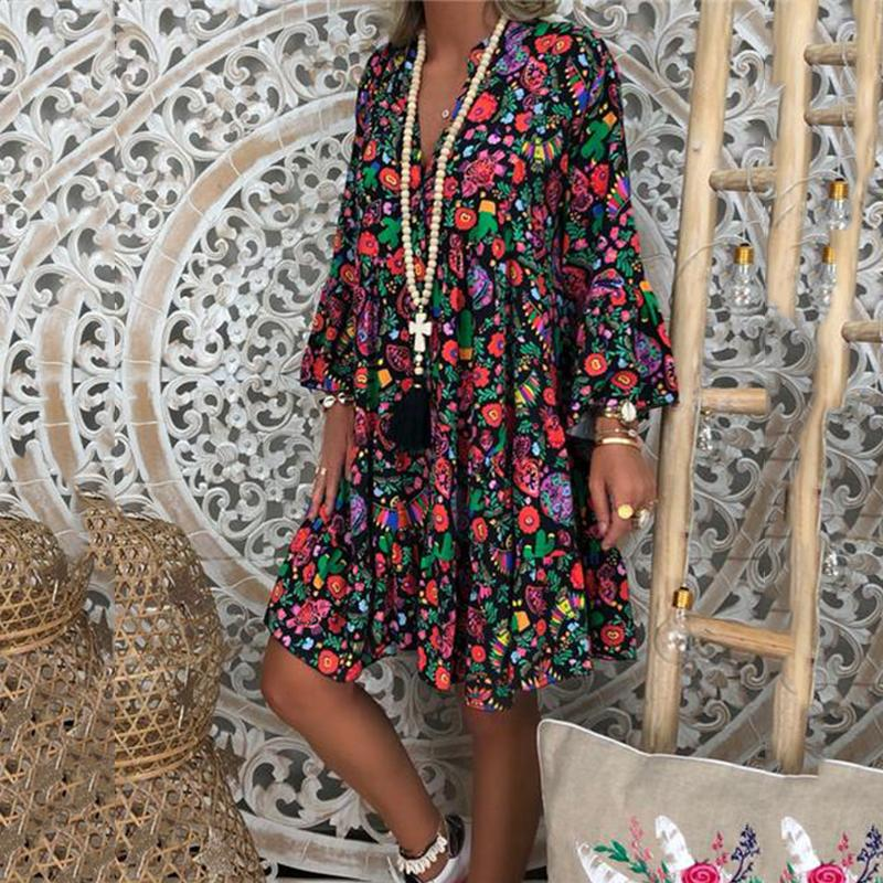 Fashionnia-Sexy V-Neck Printed Casual Long-Sleeved Dresses