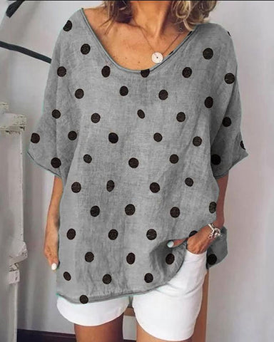 Women's Loose Round Neck Polka Dot T-Shirt