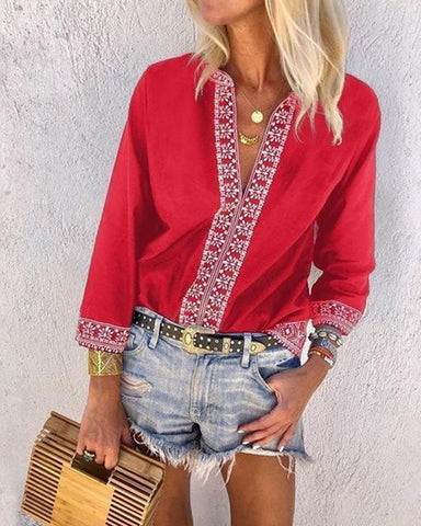 Fashionnia-V-Neck Floral Printed Long Sleeve Blouses