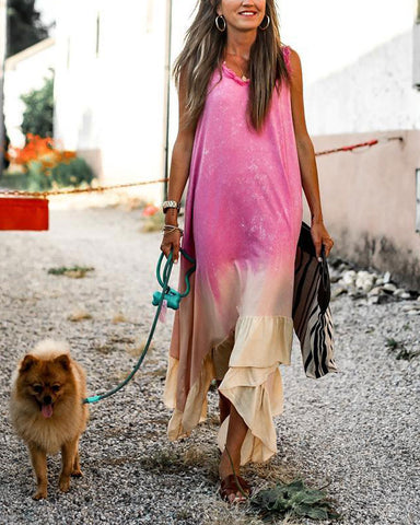 Color Sleeveless Casual Maxi Dress