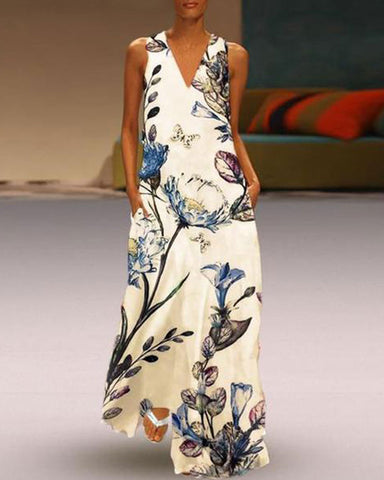 Fashionnia-Printed Deep V Collar Sleeveless Long Dress