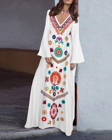 Fashionnia-Cotton/Linen V-Neck  Printed Fringed  Casual Maxi Dress