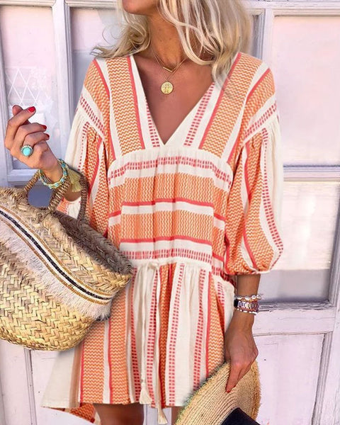 Fashion V-Neck Irregular Striped Printed Puff Sleeve Casual Vacation Mini Dresses