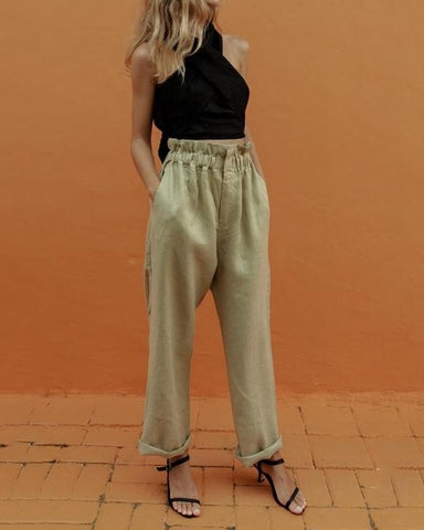 Casual Cross Collar Sleeveless Pure Colour Wide Leg Pants Suit
