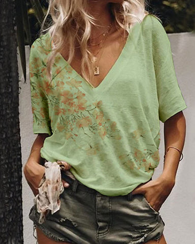 Fashionnia-Women's Summer V-Neck   Print T-Shirt