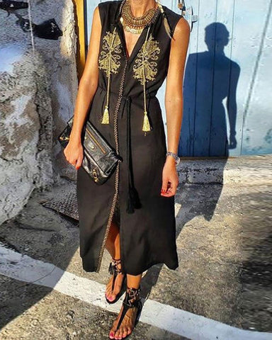 Bohemian V Neck Sleeveless High-Waist Inwrought Dress