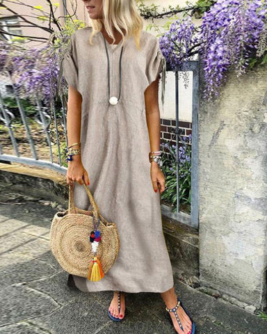 V Neck Short Sleeve Pure Plain Casual Dress