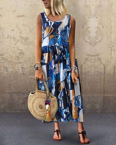Fashionnia-Vintage Round Neck Sleeveless Belted Pleated Printed Colour Dress