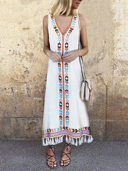 Fashionnia-Sexy V Neck Floral Printed Tassel Sleeveless Maxi Dress