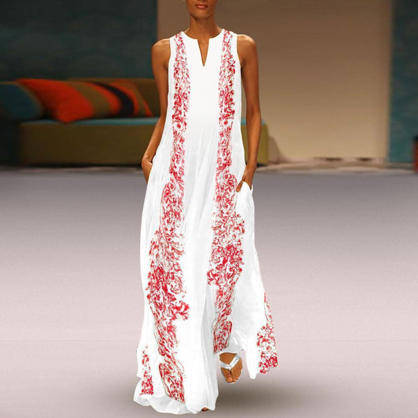 Fashionnia-Chinese Stype Red Flower Printed Maxi Shift Dress