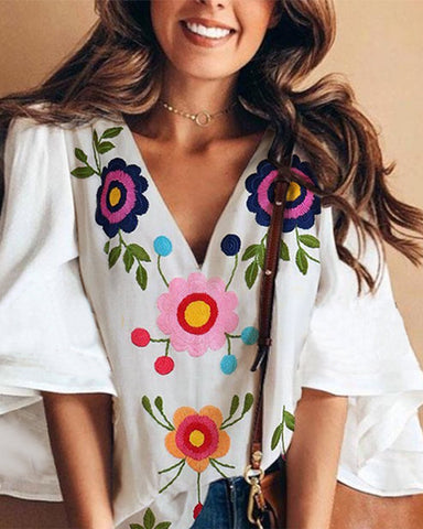 Fashionnia-Sexy V Collar Floral Print Bell Sleeve T-Shirt Blouse