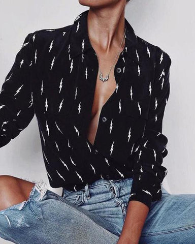 Fashionnia-Lapel Collar Sexy Blouses Black And White Printed Tops