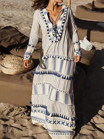 Fashionnia-Bohemian V Neck Striped Tassel Long Sleeve Maxi Dresses