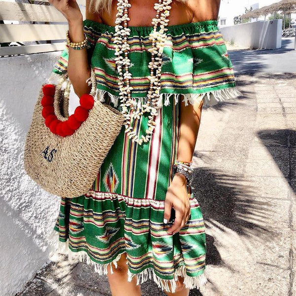 Modern Boat Neck Printed Colour Tassel Mini Dresses