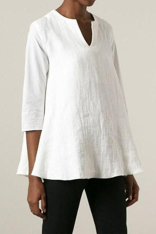 Fashionnia-Daily Casual Solid Color Cotton And Linen Shirt