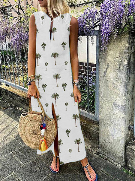 Fashionnia-Elegant Sleeveless Printed Colour Round Neck Dress