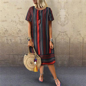 Fashionnia-Fashion Cotton And Linen Stripe Printing Casual Dresses
