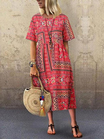 Fashionnia-Large Size Loose Short-Sleeved Dress In National Style Printing