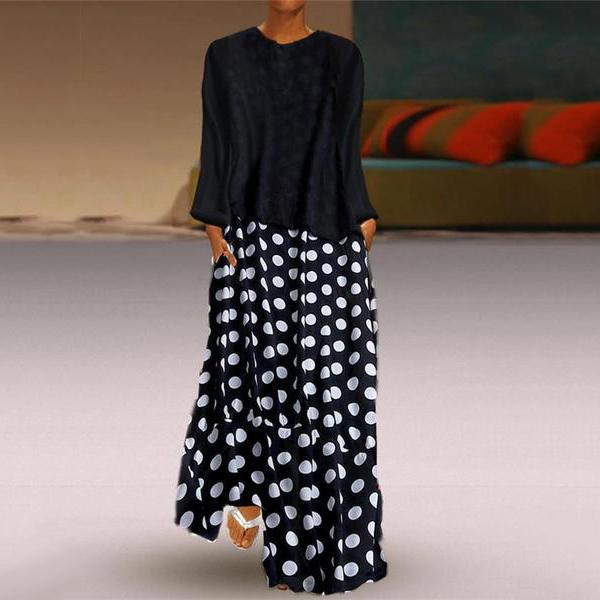 Fashionnia-Fashion Polka Dot Round Neck Long Sleeve Dresses