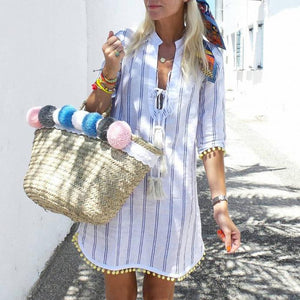 Casual Vacation Lace-Up Striped Print Ball Hem Vacation Mini Dress