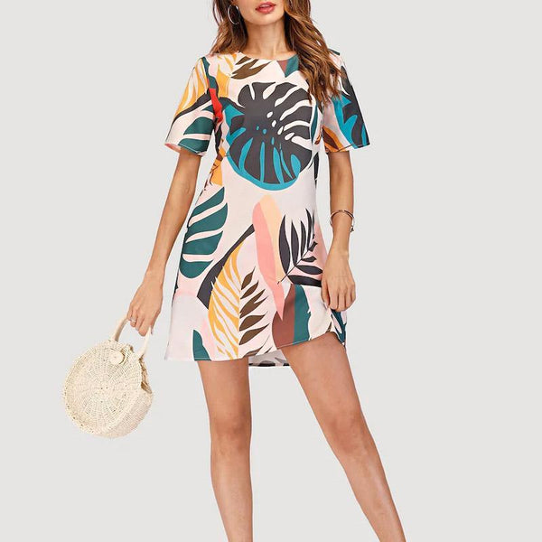 Fashionnia-Summer Leaf Print Casual Fashion Round Neck Short Sleeve Dress