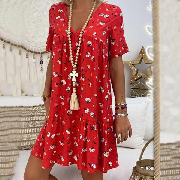 Fashionnia-Elegant V Neck Short Sleeve Pleated Splicing Bare Back Dress