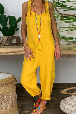 Fashionnia-Casual Pure Colour V Neck Sleeveless Loose Jumpsuit
