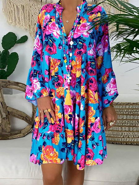 Fashionnia-Casual V Neck Long Sleeve Printed Colour Loose Dress