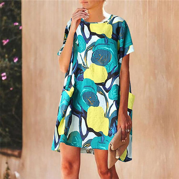 Loose Round Neck Short Sleeve Printed Cotton And Linen Dress