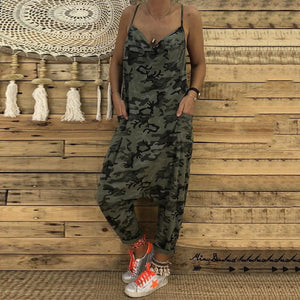 Fashionnia-Casual V Neck Camouflage Pattern Bare Back Jumpsuit