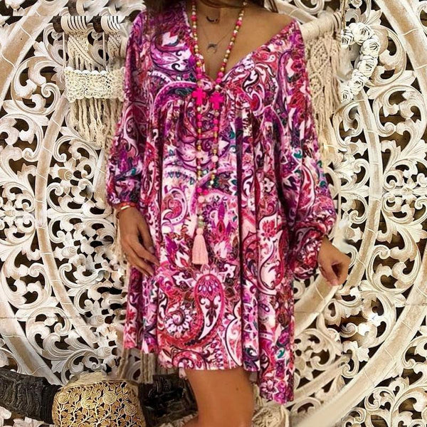 Bohemian V Neck Long Sleeve Pleated Splicing Dress