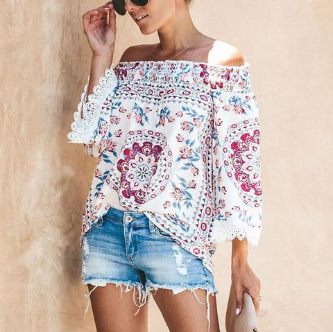 One-Shoulder Print Three-Quarter Sleeve Lace Stitching Off-Shoulder Top