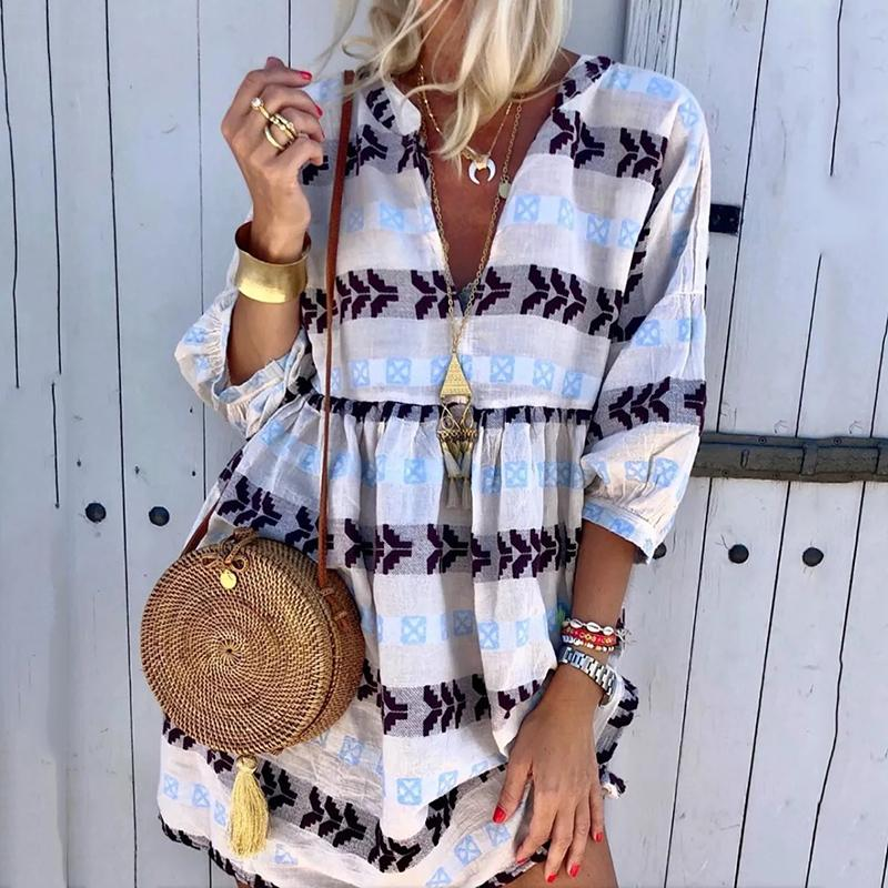 Bohemian V Neck Middle Sleeve Printed Color Casual Mini Dress