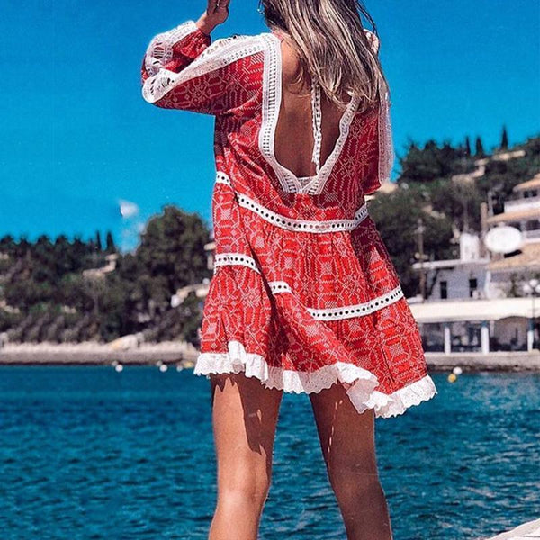 Casual Printed Long Sleeves Dress