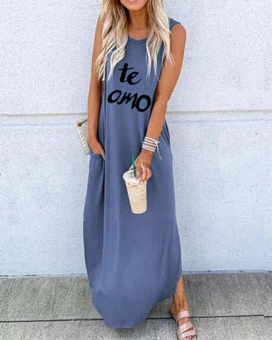 Casual Round Neck Pure Colour Letters Sleeveless Ankle-Length Dress