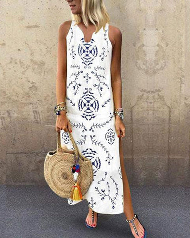Fashionnia-Casual V Collar Floral Printed Loose Maxi Dress