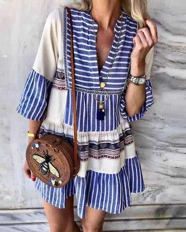 Fashionnia-Bohemian V-Neck Stripe Long Sleeve Dress