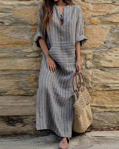 Fashionnia-V Neck  Kangaroo Pocket  Striped  Three Quarter Sleeve Maxi Dresses