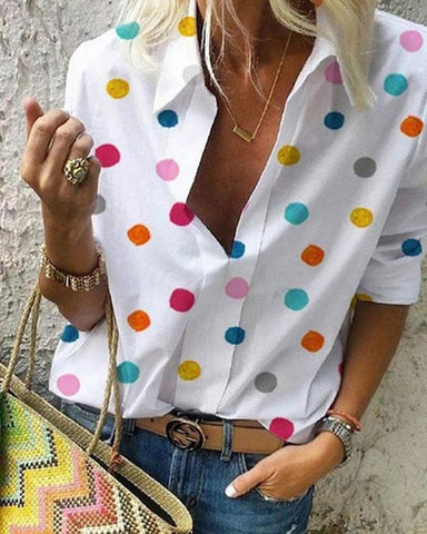 Fashionnia-Small Lapel Long Sleeve Dots Printed Blouses