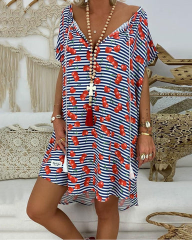 Koselip Casual V Neck Short Sleeve Loose Stripe Printed Colour Dress