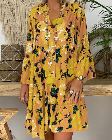 Fashionnia-Boho Printed Colour Large Size Long Sleeve Dress