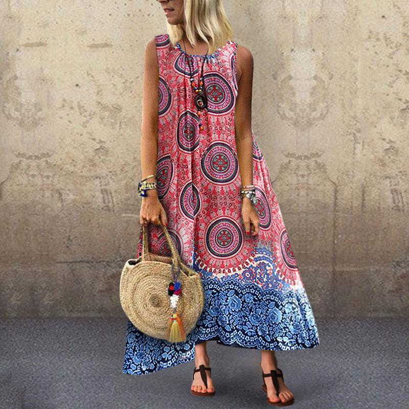 Fashionnia-Bohemian Printed Colour Round Neck Sleeveless Pleated Dress