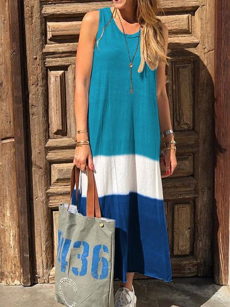 Fashion Casual Round Neck Sleevless Casual Maxi Dress
