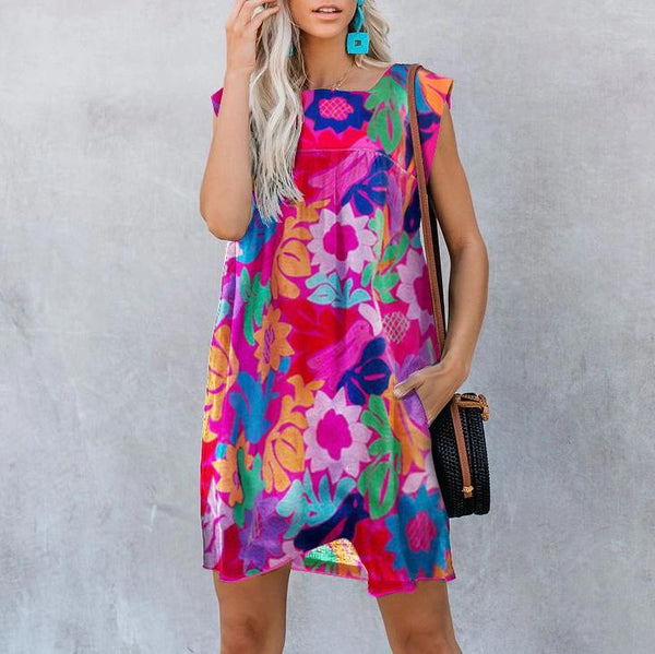 Printed Stitching Round Neck Casual Dress