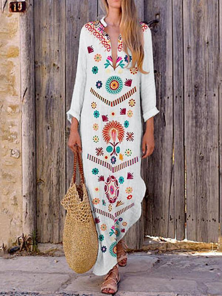 Fashionnia-Cotton Casual V-Neck Tassel Maxi Dress