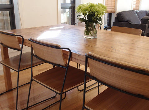 Curious Grace Customer Catherine Palmer purchased the D'Anna Dining Table and Transit Stackable Dining chairs
