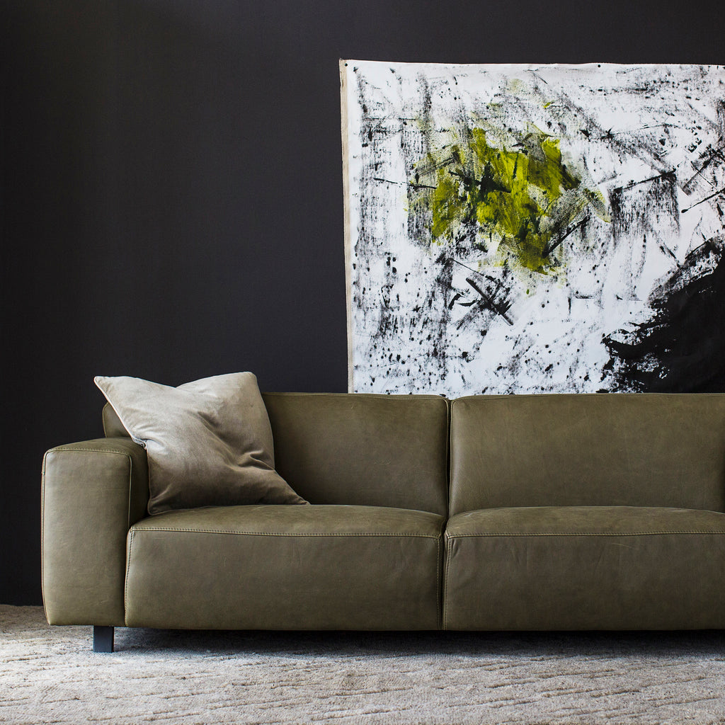 Moln Sofa Olive Leather Curious Grace