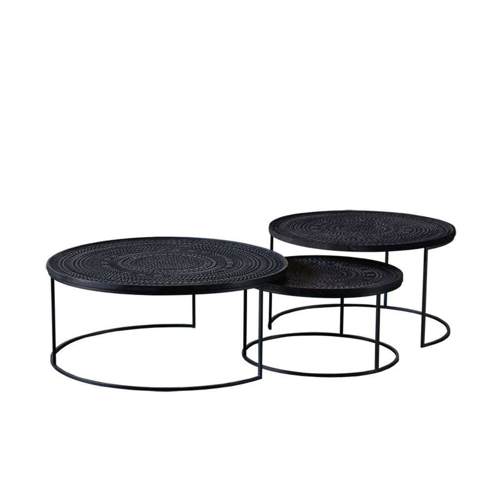 Ethnicraft Ancestors Tabwa Round Nesting Coffee Table Set Of 3