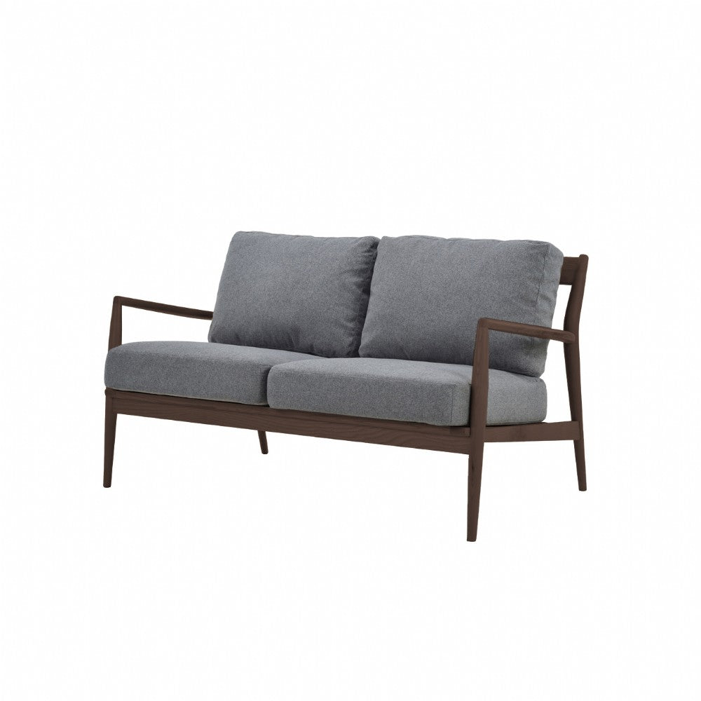 NOFU 805 2 Seater Sofa - Slate Grey/Walnut