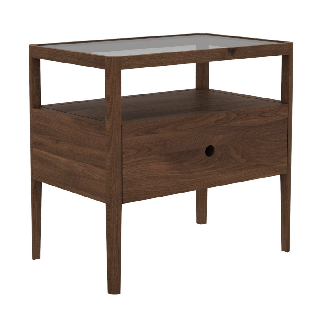 buy Ethnicraft Walnut Spindle Bedside Table - 1 Drawer online